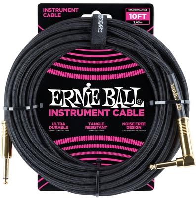 Ernie Ball Câble pour instrument, tissu noir, droit/coudé, 3m (10ft)