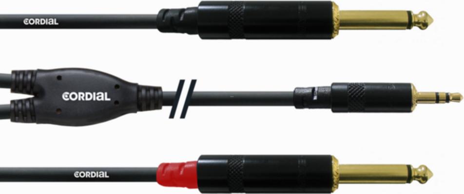 Cordial Mini-Jack stereo (3.5mm) – 2x Jack mono (6.3mm)  CFY 3 WPP Dito, 3m